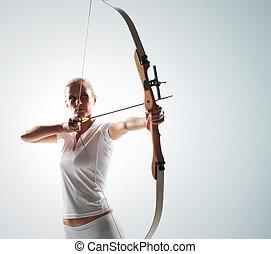 hermoso, apuntar, mujer, flecha, arco