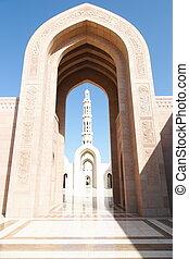 hermoso, arabia), mezquita, (oman, arco