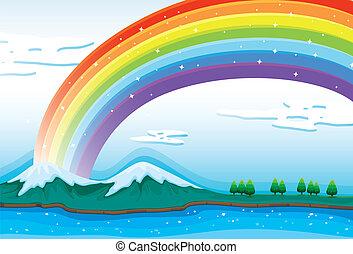hermoso, arco irirs, cielo