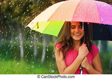 hermoso, arco irirs, mujer, paraguas, debajo
