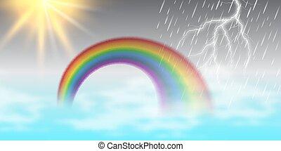 hermoso, arco irirs, verano, sol, thunder., ilustración,...