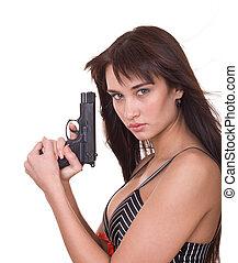 hermoso, arma de fuego, joven, mujeres