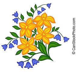 hermoso, arreglo floral, mano, dibujo, en, un, fondo blanco