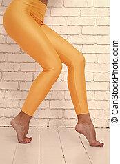 hermoso, arriba., that., piernas, como, arriba, punta, ...