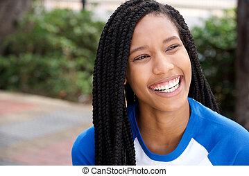hermoso, arriba, trenzas, norteamericano, africano, cierre, niña sonriente