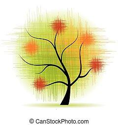 hermoso, arte, árbol