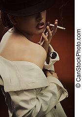 hermoso, arte, multa, cigarrillo, retrato, dama
