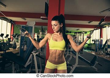 hermoso, ataque, mujer que trabaja fuera, en, gimnasio, -, niña, en, condición física
