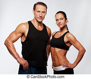hermoso, atlético, pareja.