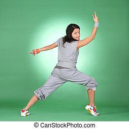 hermoso, atleta, mujer, exercise., condición física