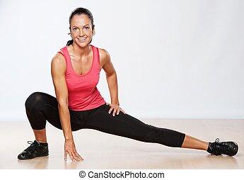 hermoso, atleta, mujer, hacer, condición física, exercise.