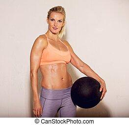 hermoso, atleta, pelota, condición física