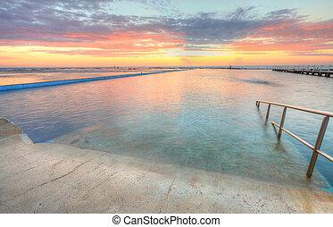 hermoso, australia, norte, swim., mañana, narrabeen, baños,...