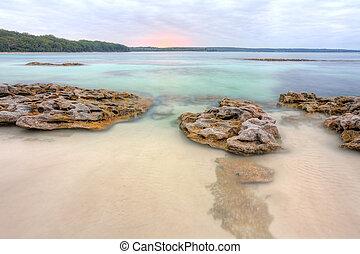 hermoso, australia, rocas, escocés, nsw, vista