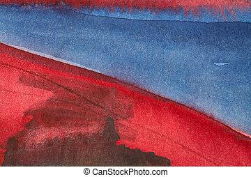 hermoso, azul, acuarela, 1, plano de fondo, rojo