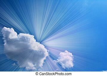 hermoso, azul, cielo