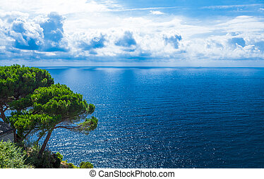 hermoso, azul, clouds., orilla, adriático, sea., mar, blanco