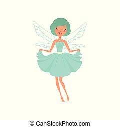 hermoso, azul, creature., dress., magia, hada, plano, imaginario, fairytale, o, carácter, alas, postal, vector, diseño, necklace., impresión, muchacha que sonríe, caricatura