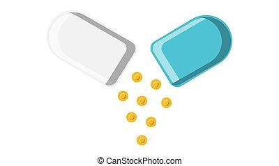 hermoso, azul, medicinas, enfermedades, tableta, two-color, ilustración médica, fondo., cápsula, vector, polvo, blanco, farmacéutico, tratamiento