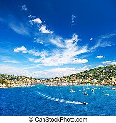 hermoso, azul, mediterráneo, cielo, paisaje
