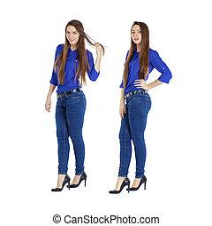 hermoso, azul, mujer, camisa, vaqueros, retrato