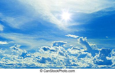 hermoso, azul, nubes, sol, marco, cielo, rayo