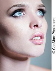hermoso, azul, ojos, mujer, joven