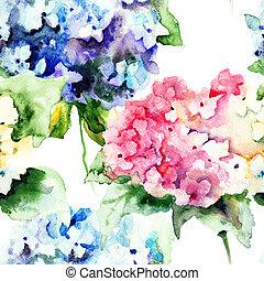 hermoso, azul, patrón, hydrangea, seamless, flores