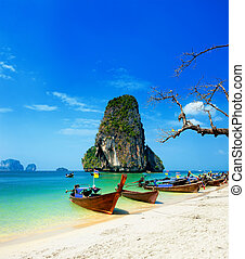 hermoso, azul, playa, isla, barco, claro, tailandés, Océano,  tropical, arena, viaje, agua, Tailandia, blanco, Fotografía, paisaje