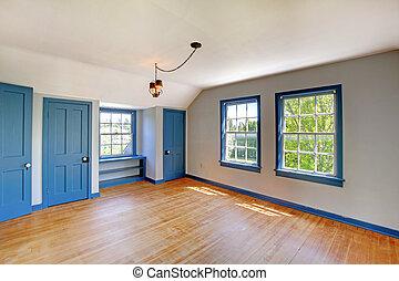 hermoso, azul, puertas, trims., histórico, dormitorio