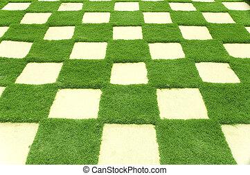 hermoso, azulejos, pasto o césped, jardín