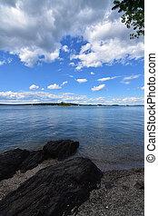hermoso, bahía de casco, calma, océano, agua, maine