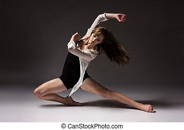 hermoso, bailarín, hembra