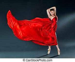 hermoso, bailarina, bailando, vuelo, largo, bailarín, vestido, rojo