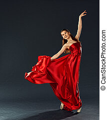 hermoso, bailarina, bailando, vuelo, largo, vestido, rojo