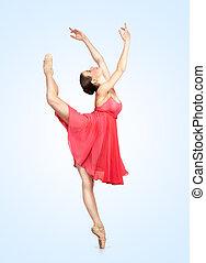 hermoso, bailarina, joven, plano de fondo, gris