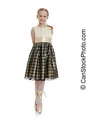 hermoso, bailarina, niña, pointe, posición