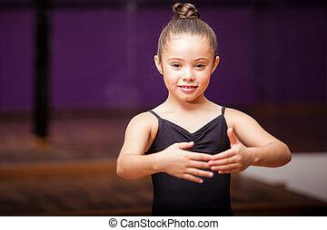 hermoso, bailarina, poco, sonriente