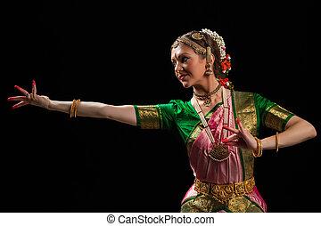 hermoso, baile clásico, indio, bharatanatyam, bailarín de...