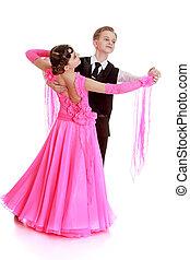 hermoso, baile, pareja