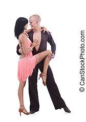 hermoso, baile, pareja, pasión, salón de baile