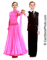 hermoso, baile, pareja, trajes, juventud