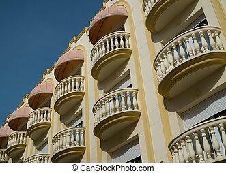 hermoso, balcones, en, pueblo, de, sitges, españa