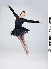 hermoso, ballet, artista, practicar, bailarín, dance., saltar, estudio, atractivo