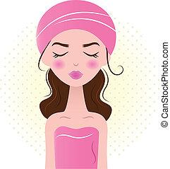 hermoso, balneario, mujer, aislado, blanco, (, rosa, )