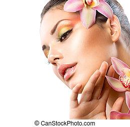 hermoso, balneario, niña, con, orquídea, flores, aislado,...