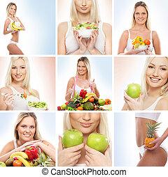 hermoso, balneario, y, salud, collage