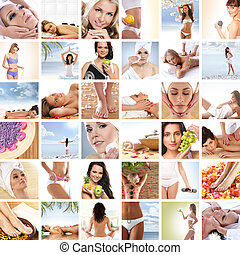 hermoso, balneario, y, salud, collage, hecho, de, muchos, elementos