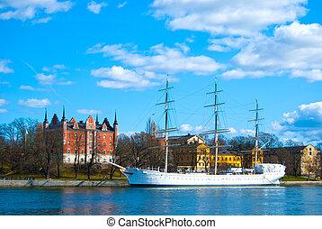 hermoso, barco, Estocolmo