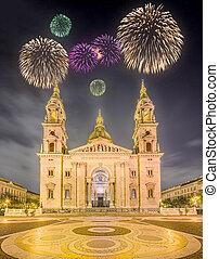 hermoso, basílica, s., fuegos artificiales, stephen, sobre